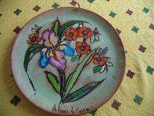 Assiette de décoration en terre cuite _ décor floral /impressionniste