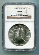 1986 AMERICAN SILVER EAGLE NGC MS69 BROWN LABEL PREMIUM QUALITY NICE COIN PQ