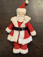 "VINTAGE CHRISTMAS SANTA CLAUS FIGURINE RED VELVET SUIT 17"""