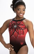 Simone Biles Gk Elite Leotard Gymnastics Flower Illusion Sequin Bling Red Am