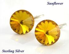 *STERLING SILVER* - RIVOLI- 12mm Sunflower Earrings Crystals from Swarovski®'