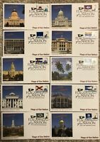 FLAGS OF OUR NATION THEMED FIRST DAY ISSUE STAMP COVERS SET OF 10 MINT CONDITION