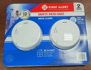2 First Alert 10-Year Battery Photoelectric Smoke Alarm Slim w/Safety Path Light