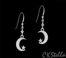 *CKstella*  Moon Star Drop Pewter  925 Sterling Silver Earrings w/ Swarovski