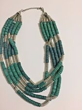 Turquoise Green And Silver Tone Tribal Cluster Bead Bib Necklace