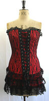 LUK 14  BEAUTIFUL RED & BLACK LACE BONED CORSETTED MINI DRESS FLAPPER VINTAGE
