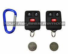 2 New Remote Key Keyless Entry Transmitter FOBS + 2 Batteries + Carabiner Hook