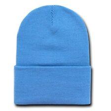 Sky Blue 12 Inch Cuffed Long Knit Beanie Ski Cap Caps Hat Hats
