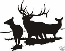 ELK FAMILY DECAL Large 6 point bull with cows wall sticker