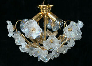 Mid century italian Brass murano glass leaf pendant lamp chandelier 1970