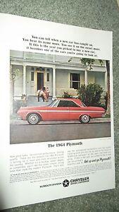 ★★1964 PLYMOUTH FURY 2 DOOR HARDTOP VINTAGE ADVERTISEMENT AD 64 MOPAR RED★★