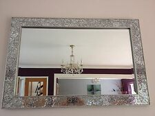Crackle mirror mosaic Beveled Silver Frame Glass 90X60cm living lounge wall hall