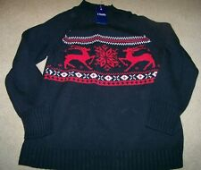 NWT Chaps Holiday Sweater Men's XXL ~ Black ~ Deer ~ Christmas ~ Snowflakes
