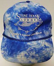 Vtg 1990s STONE HOUSE LODGE Heron & Elvado Lakes NEW MEXICO Tie Dye FISHING HAT