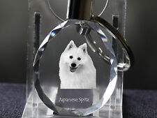 Japanese Spitz, Dog Crystal Round Keyring, High Quality, Crystal Animals Usa