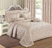 Jacquard Natural Bedding Duvet Cover Set Bedspread Curtains Single Double King