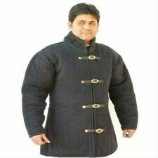 Medieval thick padded Black Gambeson coat Aketon Jacket Armor reenactment SCA