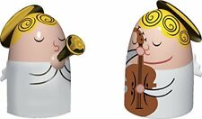Alessi 4.5 x 3 cm Angels Hand-Decorated Porcelain Figurines, Set of 2