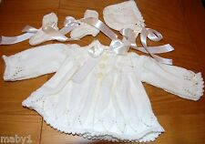 BABY COAT-HAT-MITTS-BOOTS SET-OUTFIT IN IVORY- GORGEOUS SPEICAL IDEAL GIFT 3-6M