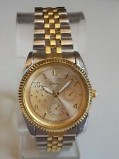 Men's Silver/Gold finish metal bracelet Geneva fashion dressy/casual watch