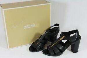 MICHAEL KORS Women's DAMITA Black Leather Dress Sandals Zip Up Heels Sz 8 M