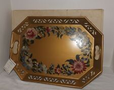 Vintage Genuine Hand-Decorated Plymount TOLE Metal Tray with Original Box & Tag