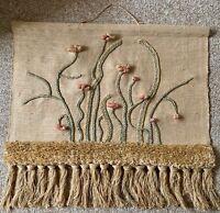Vintage 70s Floral Fiber Art Wall Hanging Tapestry Mid Century Modern Freedman 2