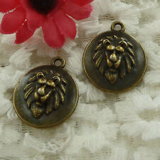 free ship 20 pieces bronze plated lion head charms 24x20mm #3212