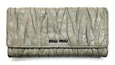 Miu Miu Matelasse Textured Grey Long Wallet Used