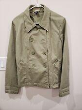 Gap Woman Jacket Coat Cotton Button Down Green Size 12