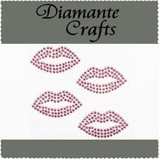 4 Light Pink Diamante Lips Vajazzle Rhinestone Body Art Self Adhesive Gems