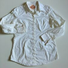Robert Graham Women's L Ivory Embroidered Stretch Cotton button front Shirt Top