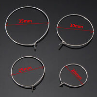 100pcs Silver Plated Wine Glass Charm Rings Wire Hoops Drink Markers 20mm-35mm
