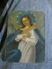 ORIGINALCONTEMPORARY RETABLO ON TIN VIRGIN MARY GREAT  COLORS AND BRUSHWORK