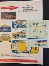 DECALS 1/43 RENAULT MEGANE MAXI KIT CAR LATIL RALLYE CHARBONNIERES 1997 RALLY