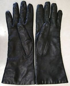 "11.25"" Younkers Ladies Italian Black Leather Cashmere Lined Gloves Size 8 (G54)"