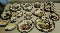 VINTAGE JOHNSON Brothers FRIENDLY VILLAGE Multi-Color MADE in ENGLAND 43-Piece!!