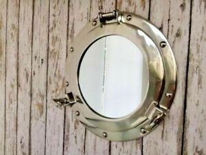 "12"" Porthole Mirror ~ Chrome Finish ~ Nautical Maritime Décor ~Ship Cabin Window"