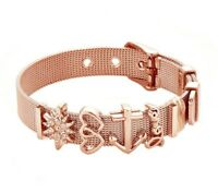 Keeper Woman Bracelet Mesh Bracelet Set Crystal Love Anchor Charm  Rose Gold