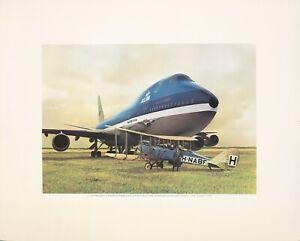 Original Vintage Poster KLM Royal Dutch Airline 60th Anniversary 1979 Airplane