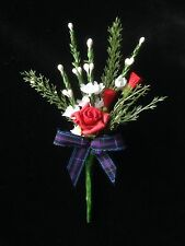 Scottish White Heather Red Thistles & Rose TARTAN BUTTONHOLE (MADE TO ORDER)