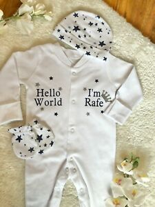 Personalised Sleepsuit Babygrow Hat 3 piece Gift Set Clothes Baby boy 1st class