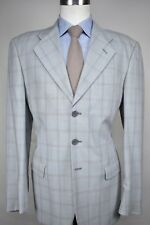 San Reme' Light Gray Orange/Blue Windwopane Check 100% Wool Sport Coat Size: 43R