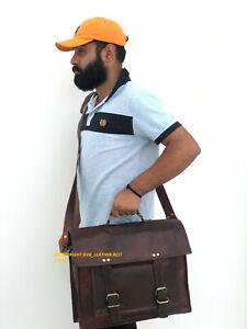 """vintage goat leather messenger satchel bag genuine 15.6"""" laptop brown briefcase"""