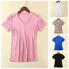 Women Silk Short Sleeve V Neck T-shirt Ladies Plain Top Tee Shirt Leisure Retro
