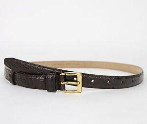 New Gucci Women's Dark Brown Skinny Crocodile Belt Gold Buckle 269813 E7I0T 2140