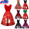 Women Christmas Plus Size Clothes Dress Midi Swing Party Dress Xmas Dresses