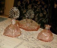 New Martinsville Three Piece Pink Art Deco Perfume Vanity Set