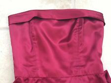 Elegant sexy strapless long claret red satin black tie party or ball dress 10
