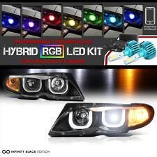 BMW E46 3-SERIES Sedan Euro 3D Style Halo Headlights [COLOR STROBE LED LOW BEAM]